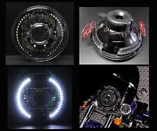 "7"" Harley Motorcycle White LED Halo Turn Signal Black Chrome Projector Headlight"