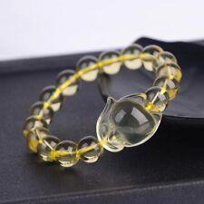 100% Natural Citrine Quartz Yellow Crystal Fox Pendant Beads Bracelet 10mm AAAA