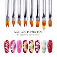 8Pcs Acrylic Nail Art  Brushes Gradient Shading UV Gel Painting Pen Kit Tool Top