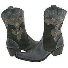 J RENEE  DESTIN BOOTS , LEATHER Sz 6M BLK / DENIM - STUDDED - WESTERN  $189