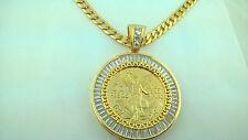"""CENTENARIO COIN With Baggete Bezel and 30"""" Cuban Necklace 50 pesos Mexico"""