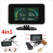 4in1 LCD Digital Display Car Voltmeter/Water Temp/Oil Pressure/Fuel Gauge Meter
