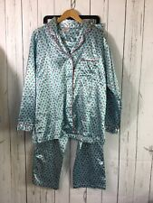 Mary Engelbreit Satin Pajamas Size L Cherry Print Blue Top Pants Dream Wear