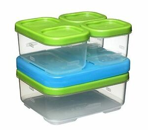 NEW Rubbermaid Lunch Box Sandwich Kit Food Container Lunchbox Organizer BLUE ICE