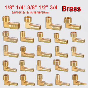 """Elbow BSP Brass Male Thread Fitting x Barb Hose Tail End Connector 1/8"""" ~ 3/4"""""""