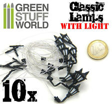 10x Classic WALL Lamps with LED - Scenery Miniature lighting train bolt action