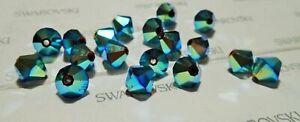 100 pieces 4mm 5328 Bicone Swarovski JET AB2X Beads Rare in AB2X  USA Seller