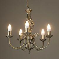 Kingswood Barley Twist Traditional 5 Light Ceiling Pendant - Antique Brass