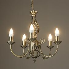 Kingswood Barley Twist Traditional 5 Light Ceiling Pendant - Antique Brass