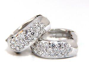 1.23ct round natural diamond huggie earrings 14kt bead set