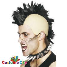 Adults Black Mohawk Mohican Wig Punk Rocker Fancy Dress Costume Accessory