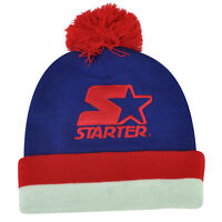 Starter Blank Blue Red Pom Pom Beanie Knit Cuffed Toque Solid Plain Hat Thick