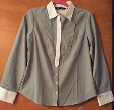 Sharagano Studio NWOT Button Down Long Sleeve Blue & White Striped Blouse Size S