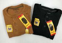 Stanley Mens Henley Shirt Thermal Long Sleeve Stretch Shirt Brown Black Variety