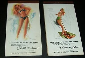 LOT/2: Aug 1952, April 1955 COMPLETE PIN UP CALENDAR NOTEPADS Withers Hollywood