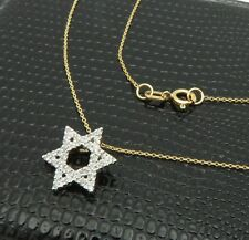 """14k Gold Solid Star of David Pendant Necklace 18"""""""