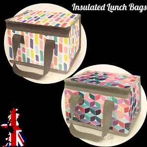 Insulated Lunch Bag Box Childrens Kids Adults Cool Thermal Bag School Colourful