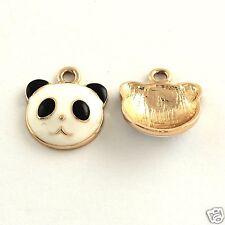 4 x Panda Face Gold Tone Enamel Pendant Charms