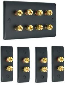 Matt Black 4.0 Slimline Surround Sound Audio AV Speaker Wall Face Plate Kit