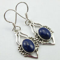 "925 Solid Silver Real Lapis Lazuli Tribal Style Earrings 1.4"" New Gemstone"