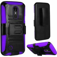 For LG K20 Plus Combo Holster with Hard HYBRID KICK STAND Rubber Phone Case