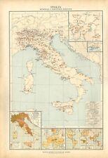 Carta geografica antica ITALIA MINERALI E INDUSTRIE De Agostini 1927 Antique map