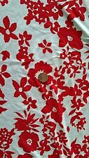 Viscose Lycra jersey fabric Material  - Red & White Floral print -  FREE UK P&P
