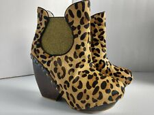 "Irregular Choice Collagen Kiss Leopard Boots Leather Uppers 5"" Heel US size 10.5"