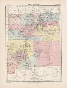 New Mexico Original colour map 1875 W & A K Johnston