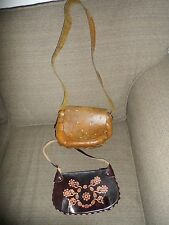 Vtg Hand Tooled Leather  Floral Pattern Women's 70's Handbag Bonus India Purse