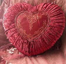 Victorian Burgundy Red Lace Velvet Heart Cushion Toss Bed Sofa Pillow CLEARANCE