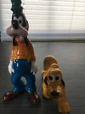 Vintage Disney Japan Goofy And Pluto Porcelain Figurines