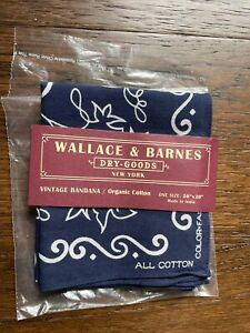 J CREW WALLACE & BARNES Ultramarine Propeller 20x20 Organic Cotton Bandanna