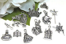 12 FAIRY TALE Charms, Tibetan Antique Silver Mixed Princess Charm Collection Set