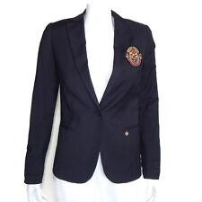 MAISON SCOTCH Navy Blue Pin Striped Ivy League Patch Blazer Jacket sz 1