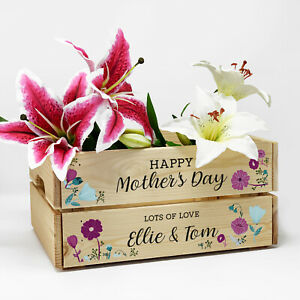 Personalised Wooden Birthday Floral Crate Flower Gift Box For Mum Mummy Nanny