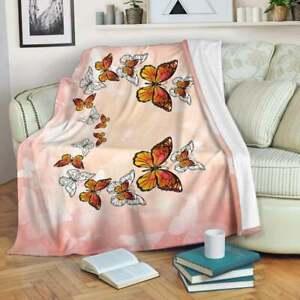 Monarch Butterfly Throw Microfiber Butterfly Pink Butterfly Fleece Blanket