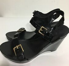 Ralph Lauren Women Shiny Black Buckle Ankle Strap Sandals Shoes Size 8