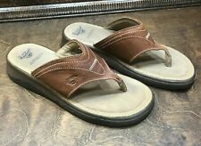Womens Dr. Doc Martens Sandals Size 6 Air Leather Brown Wedge Thongs Flip Flops