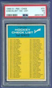 1969 70 OPC O Pee Chee Checklist 133-231 PSA 3 Great Centering No Marks