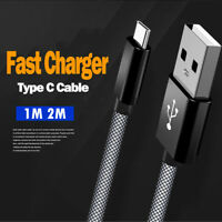 1M 2M Long Type C USB Data Sync Charger Cable Lead For Samsung S9 Huawei Xiaomi