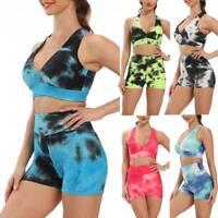 Womens 2pcs Yoga Suit Gym Set Top Bra Hot Pants Leggings Tracksuit Sports Outfit