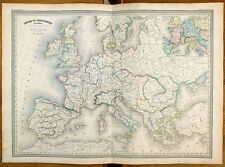 Carte ancienne DUFOUR antique map 1868 EMPIRE DE CHARLEMAGNE Ostrasie Lombardie