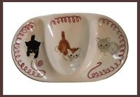 Vintage Mid Century Stangl Pottery Cat - Kitten Capers - Divided Dish - USA Made