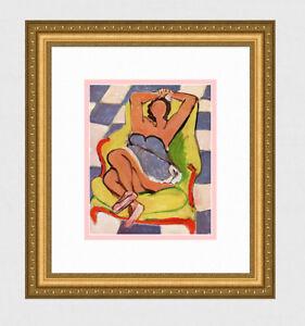 "Pretty Henri MATISSE 1945 Antique Print ""Le Danseur Au Repos"" GALLERY FRAMED COA"