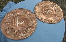"2 20"" vintage Turkish plates wall hanger copper Mosque"