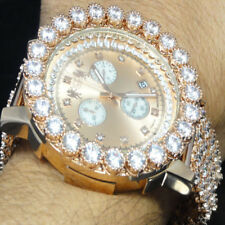 Mens Genuine Diamond Jojino Joe Rodeo Rose Gold Finish 6 Row Custom Band Watch