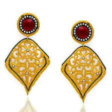 18K Yellow Gold Plated Brass Pink Glass Cubic Zirconia Leaf Earrings Jewelry