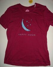 "NWT Life is Good Medium Women's Moon ""Happy Hour"" Plum T-shirt Long Sleeve"
