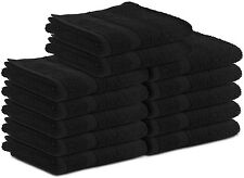 48 NEW BLACK SALON COLLECTION TOWELS GYM SPA HAIR HAND TOWELS 16X27 BLEACH GUARD